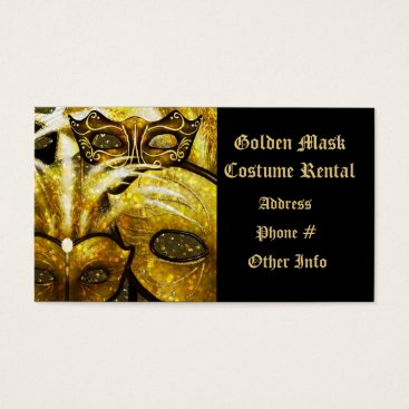Professional Business Golden Mardi Gras Masks Business Card