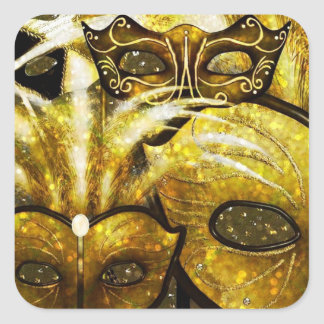 Golden Mardi Gras Masks Stickers