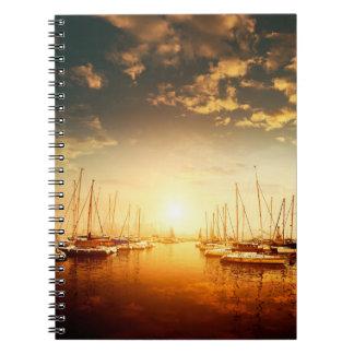 Golden Marina Sunset Notebook