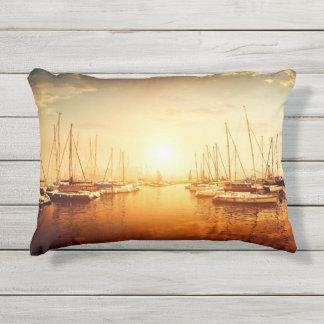 Golden Marina Sunset Outdoor Accent Pillow