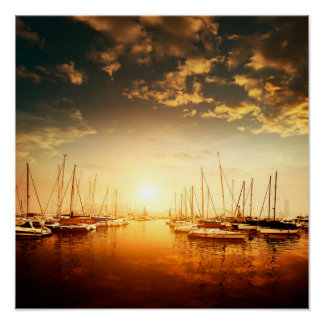 Golden Marina Sunset Poster