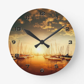 Golden Marina Sunset Wall Clock