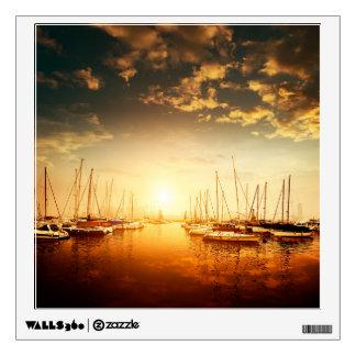 Golden Marina Sunset Wall Decal