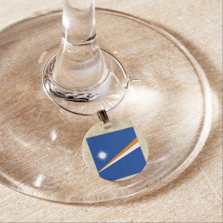 Golden Marshall Islands Flag Wine Glass Charms