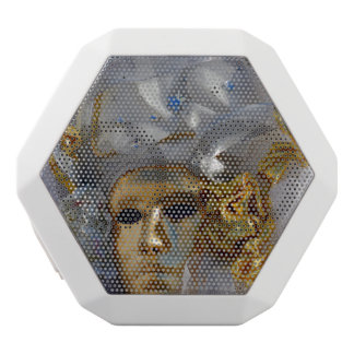Golden Mask From The Carnival of Venice, Italy White Bluetooth Speaker