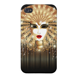 Golden Mask Mardi Gras Party iPhone 4 Glossy Case