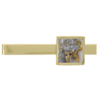 Golden Mask - The Carnival of Venice, Italy Gold Finish Tie Clip