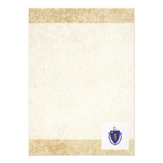 "Golden Massachusetts Flag 5"" X 7"" Invitation Card"