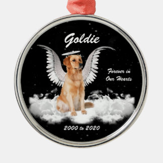 Golden Memories Gaurdian Angel Dog Metal Ornament