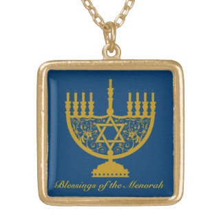 Golden Menorah Gold Plated Necklace