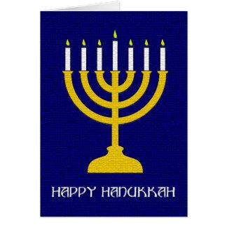 Golden Menorah Hanukkah Greeting Card