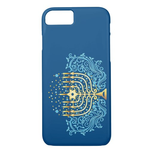 Golden menorah Hanukkah greeting festival of light iPhone 8/7 Case