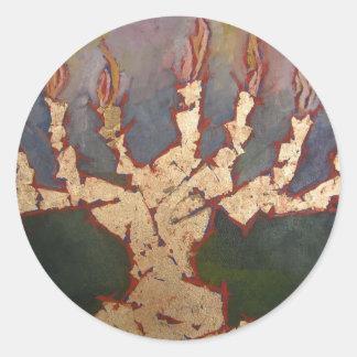Golden Menorah Round Stickers