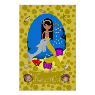 Golden Mermaid and Dolphin Print
