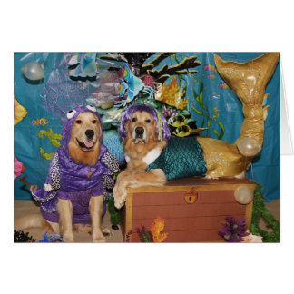 Golden Mermaid and Octopus Birthday Card