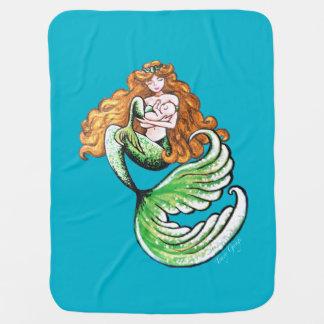 Golden Mermaid Mama Baby Blanket
