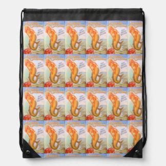 golden mermaids drawstring backpack