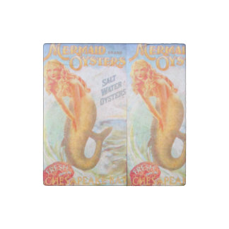golden mermaids marble stone magnet