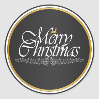 Golden Merry Christmas Classic Round Sticker