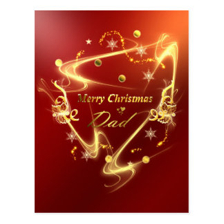 golden merry christmas dad postcard