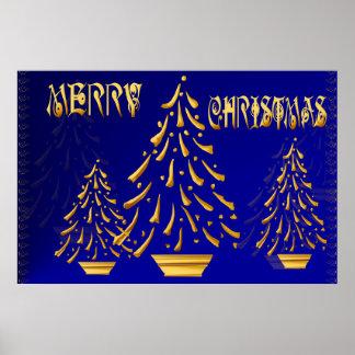Golden Merry Christmas Print