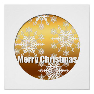 Golden Merry Christmas - Snowflakes Perfect Poster