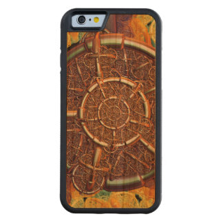 Golden metal abstract carved cherry iPhone 6 bumper case