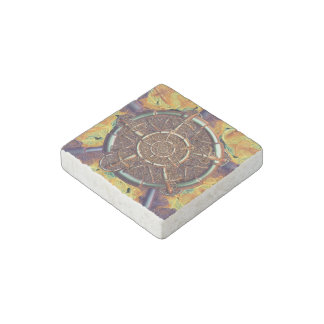 Golden metal abstract stone magnet