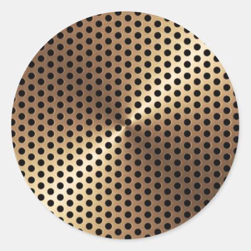 Golden Metal Plate Classic Round Sticker