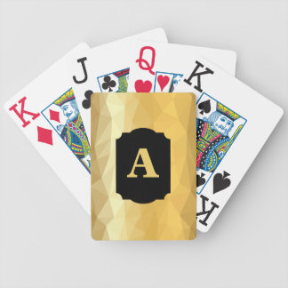 Golden metallic design initial playing cards. bicycle playing cards