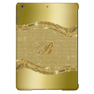 Golden Metallic Look With Diamonds Pattern iPad Air Cases