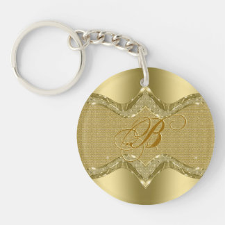 Golden Metallic Look With Diamonds Texture Keychain
