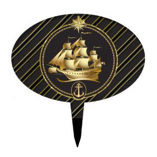Golden Metallic Sailing Ship & Anchor Gold Stripes Cake Topper