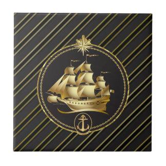 Golden Metallic Sailing Ship & Anchor Gold Stripes Ceramic Tile