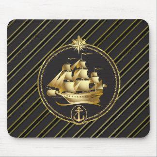 Golden Metallic Sailing Ship & Anchor Gold Stripes Mouse Pad