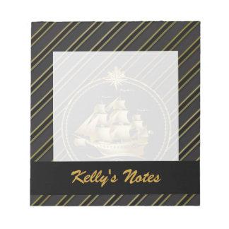 Golden Metallic Sailing Ship & Anchor Gold Stripes Notepad