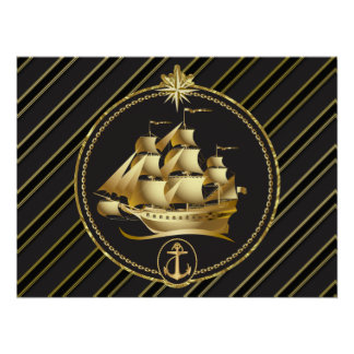 Golden Metallic Sailing Ship & Anchor Gold Stripes Poster