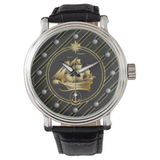 Golden Metallic Sailing Ship & Anchor Gold Stripes Watches