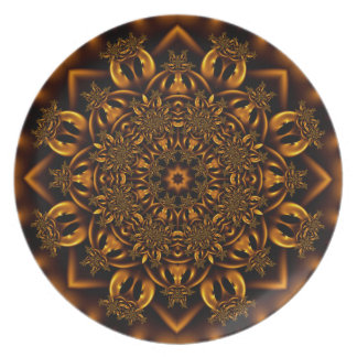 Golden metalwork melamine plate
