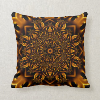 Golden metalwork throw pillow