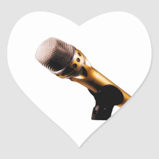 Golden Microphone Heart Sticker