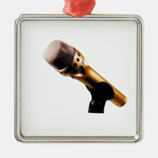 Golden Microphone Metal Ornament