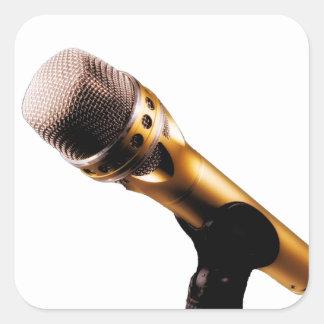 Golden Microphone Square Sticker