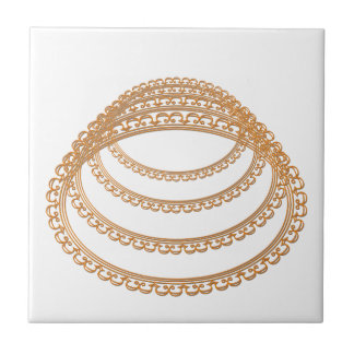 Golden Mirror Frame Template - Add your TXT or IMG Ceramic Tile