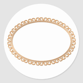 Golden Mirror Frame Template - Add your TXT or IMG Classic Round Sticker