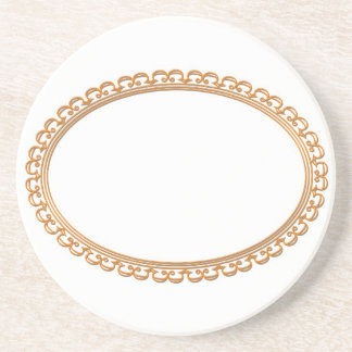 Golden Mirror Frame Template - Add your TXT or IMG Drink Coaster