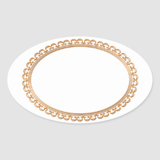 Golden Mirror Frame Template - Add your TXT or IMG Oval Sticker