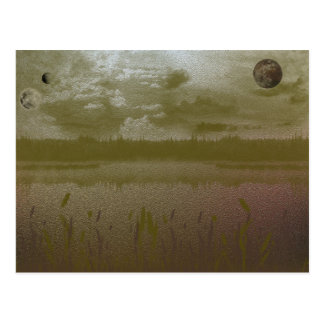 Golden Misty Planets Postcard