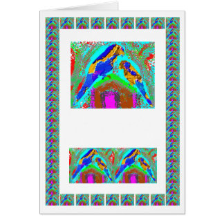 Golden Mommy n Baby Parrot-  add text img Greeting Card