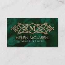 Golden Monogram Celtic Knot Ornament  on malachite
